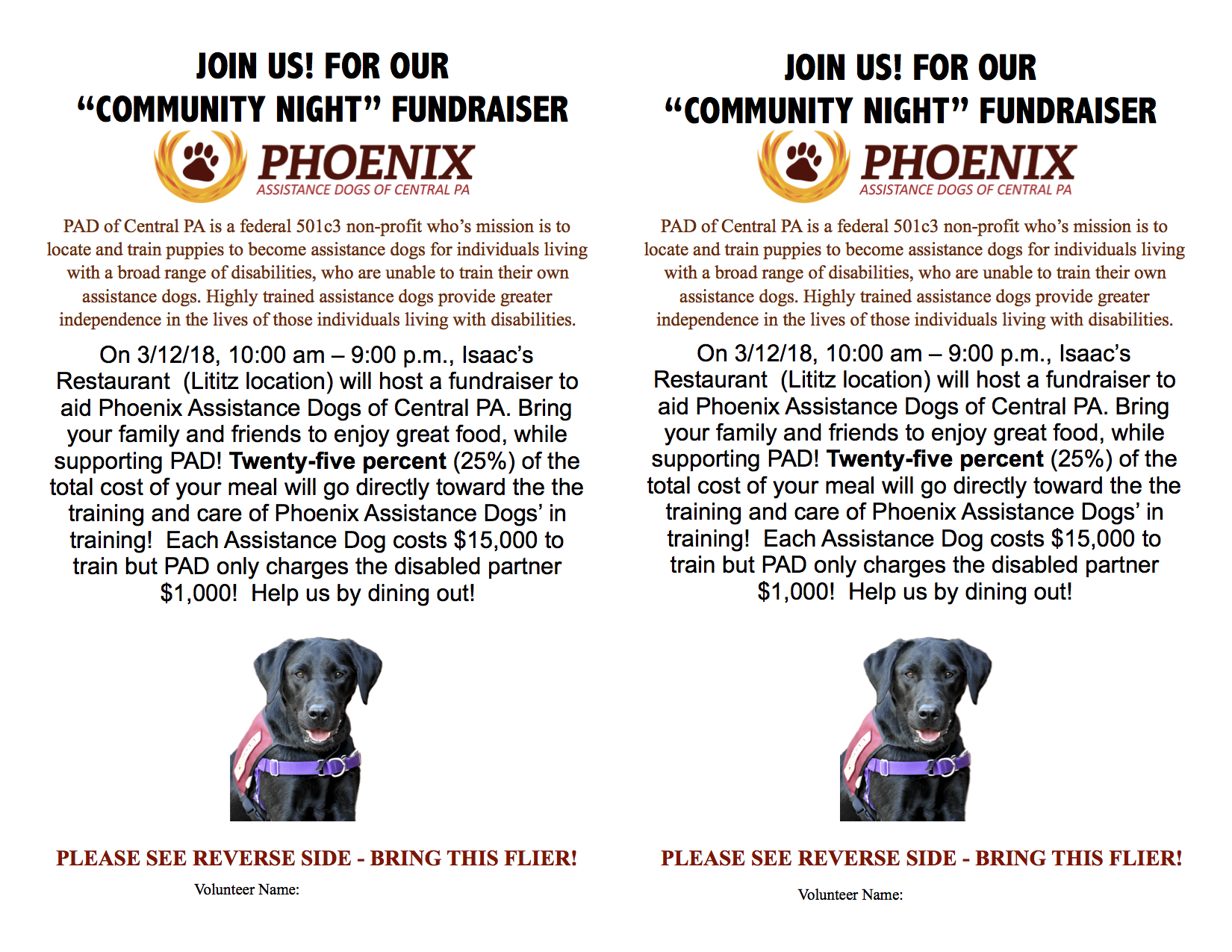 Blog phoenix assistance dogs each assistance dog costs 15000 to train but pad only charges the disabled partner 1000 help us by dining out 1betcityfo Image collections